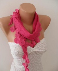 Autumn Fashion pink Scarf with Lace Edge by OutletScarf on Etsy