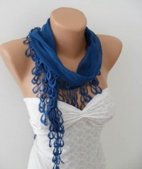 Autumn Fashion blue Scarf with Lace Edge by OutletScarf on Etsy
