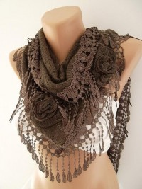 Brown Rose Shawl/ Scarf Headband Cowl with Lace Edge by womann