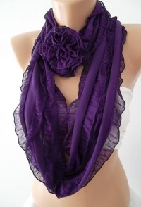 Purple Chiffon Ruffle Rose Shawl/ Scarf Headband by womann