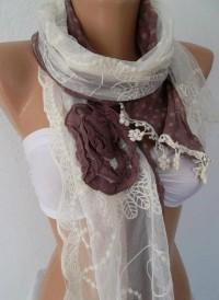 Shabby Chic Elegant Scarf Romantic Scarf Shawl by womann