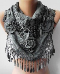 Gray Rose Shawl/ Scarf Headband Cowl with Lace Edge by womann