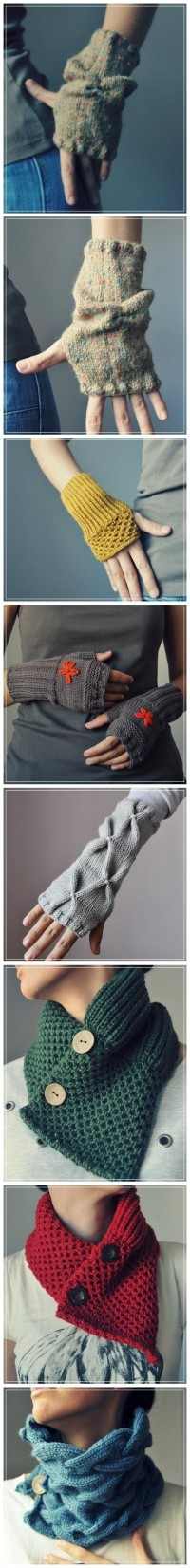 Hand Knitted_gloves & neck warmer