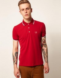Fred Perry Laurel Wreath Collection Fred Perry Laurel Wreath Knitted Polo with Tipping in Red for Men | Lyst