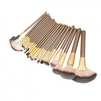 22PCS Brown Handle Makeup Brush Kits with Coffee Pouch - makeupsuperdeal.com