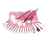 22PCS Pink PU Leather Package Pink Pole Makeup Brush Set - makeupsuperdeal.com