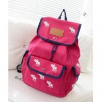 [grhmf22000182]Cute Leisure White Deer Mixing Color Canvas Backpack