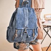 [grhmf22000183]Fashion Cowboy Style Simple Zip Denim Backpack