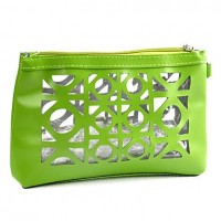 1pcs Hollowed-out Plastic & Leather Cosmetic Bag (25x18x7cm, Random Color) - makeupsuperdeal.com