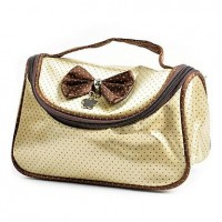 1pcs Spot Plastic & Leather Cosmetic Bag with Bowknot (20x12x4cm,Random Color) - makeupsuperdeal.com