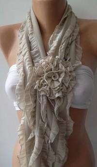 Beige Chiffon Ruffle Rose Shawl/ Scarf by ElegantScarfStore