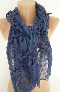 Navy blue Georgeus Scarf Elegant and by ElegantScarfStore