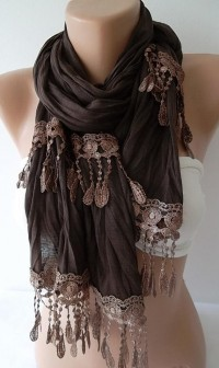 Brown Jersey Shawl Scarf With lace edge by ElegantScarfStore