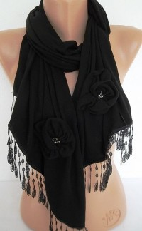 Black Jersey Rose Shawl Scarf With lace by ElegantScarfStore