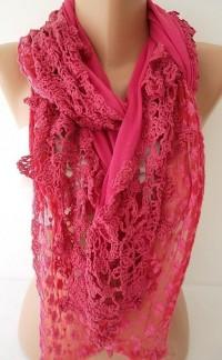 Dark Pink Jersey Scarf / Shawl Lace Tulle by ElegantScarfStore