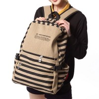 [grhmf22000170]British Style Retro Strip Print Canvas Backpack