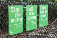 """Thou shalt not poop"", hysterical signage for a cathedral lawn by Pentagram - The Fox Is Black"