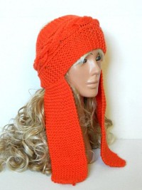 Orange Cable Knitted Headband Ear Warmer neck and by EmofoFashion