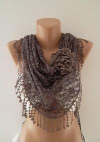 Elegance Scarf Moca Brown Scarf Lace Scarf by ElegantScarfStore