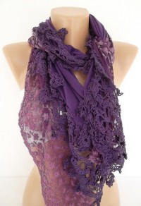 Purple Jersey Shawl Scarf With lace edge by ElegantScarfStore