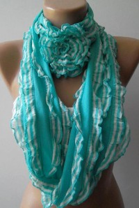 Blue Ruffle Rose Shawl/ Scarf Headband by ElegantScarfStore