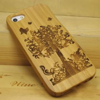 [grhmf2100041]Hand Carved Fruit Trees Wood For IPhone 4 / 4s / 5 Case