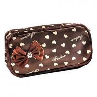 1pcs Spot Plastic & Leather Cosmetic Bag With Bowknot (22x14x4cm, Color for Random) - makeupsuperdeal.com