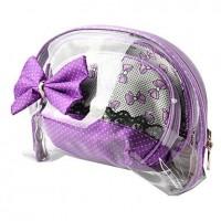 1pcs Transparent Plastic Cosmetic Bag with Bowknot Set (26x12x3cm, Color for Random) - makeupsuperdeal.com