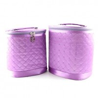 2PCS Cosmetic Makeup Pouch Portable Case Bag Set with Mirrors Purple Diamond Shape Pattern Bordered - makeupsuperdeal.com