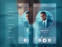 Music Player - Side Menu - Mobile Interface on Creattica: Your source for design inspiration