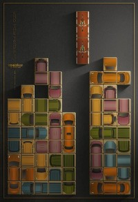 Poster Ads Promote Cycling By Depicting Vehicles As Tetris Pieces - DesignTAXI.com