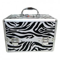 3 Trays Jewelry Comestic Organizing Makeup Train Case Aluminum Box With Zebra Print - makeupsuperdeal.com