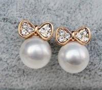 Vintage Opal Bow Full Of Diamond Earrings&Stud