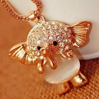 [grhmf21000014]Rhinestone Crystal Opal Elephant Necklace