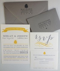 Grey and Yellow Wedding Invitation Suite Spring by asensiblehabit