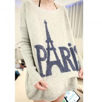 [grhmf260002076]Loose Fitting PARIS Eiffel Tower Print Knit Sweater