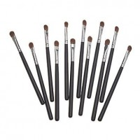 12PCS Black Handle Brown Brush Small Eyeshadow Brush - makeupsuperdeal.com