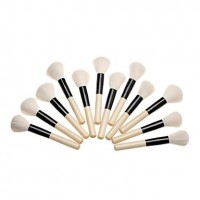 12PCS Wooden Handle White Brush Big Blush Brush - makeupsuperdeal.com