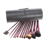 13 PCS Black Powder Blush Goat Hair Makeup Brush Cosmetic Brushes Set With Case - makeupsuperdeal.com