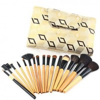 16Pcs Special Design High Quality Animal Hair Makeup Brush Set with Natural Wooden Handle - makeupsuperdeal.com