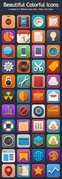 Colorful Icons Set For Web UI | Freebies