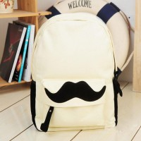 shego shopping mall — [grzxy6200023]British Style Sweet Cute Mustache Leisure Canvas Backpack