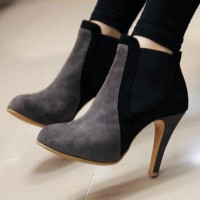 european style mixing color pointed-toe high-heeled boot picture on VisualizeUs