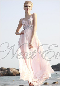 Sparkly Pink Spaghetti Strap Chiffon Evening Gown