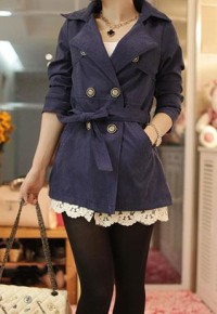 shego shopping mall — [grzxy6600192]Leisure Pure Color Slim Bowknot Coat