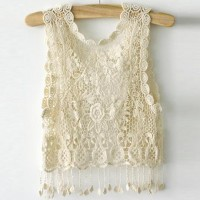 shego shopping mall — [grlhx160066]Lace Short coat hook flower hollow out vest