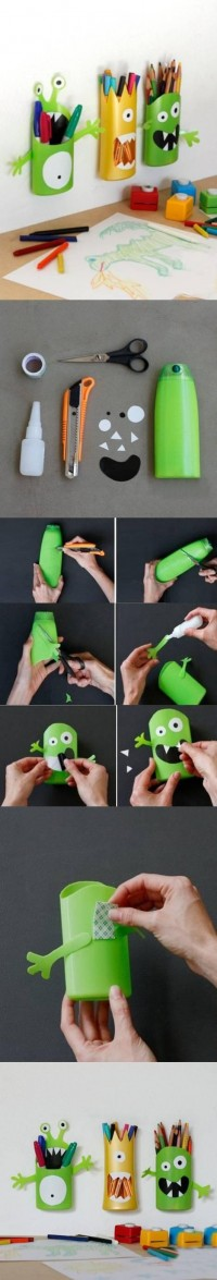 DIY Shampoo Bottle Monster Pencil Holder DIY Projects | UsefulDIY.com