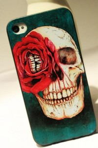 shego shopping mall — [grdx02064]Red Flower Skull Hard Cover Case For Iphone 4/4s