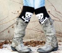 Short Knit Boot Cuffs Skull Legwarmers Black by EmofoFashion
