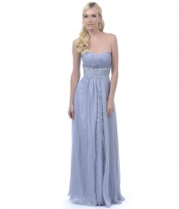 Silver Ruched Empire Waist Strapless Long Dress [v15s107] - $110.00 : Cheap Prom Dresses,Party Dresses,Evenning Dresses,etc...Online.